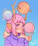 1girl animal_ears antlers artist_name bangs blue_background blush gradient gradient_background hanaan highres index_finger_raised long_sleeves looking_at_viewer medium_hair no_nose original outline pink_hair planet purple_sweater saturn sleeves_past_wrists smile solo sparkle star star-shaped_pupils sweater symbol-shaped_pupils upper_body violet_eyes white_outline
