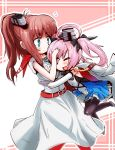 2girls ;d ahoge azur_lane bangs belt belt_buckle black_bow black_legwear blue_dress blue_eyes blush bow brown_hair buckle chibi closed_mouth commentary_request crossover dress elbow_gloves eyebrows_visible_through_hair flying_sweatdrops gloves grey_footwear hair_bow high_ponytail jacket jacket_on_shoulders kantai_collection multiple_girls namesake one_eye_closed open_mouth pantyhose partly_fingerless_gloves pink_hair pleated_dress ponytail red_belt red_legwear saratoga_(azur_lane) saratoga_(kantai_collection) shoes short_sleeves sleeveless sleeveless_dress smile smokestack thighband_pantyhose twintails violet_eyes white_dress white_gloves white_jacket yagami_kamiya