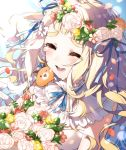 1girl :d ^_^ animal animal_on_shoulder bare_shoulders blonde_hair blue_ribbon blush bouquet character_request closed_eyes closed_eyes commentary_request crying dress flower flower_wreath fox hair_ribbon head_wreath kurihara_sakura long_hair nijisanji open_mouth red_flower ribbon rose round_teeth smile solo tears teeth upper_teeth white_dress white_flower white_rose yellow_flower yellow_rose