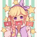 1girl artist_name bangs blonde_hair bow braid covered_mouth food fruit hairband hanaan hand_up long_hair long_sleeves looking_at_viewer original outline purple_bow purple_hairband solo star star-shaped_pupils strawberry striped striped_background symbol-shaped_pupils vertical-striped_background vertical_stripes violet_eyes white_outline wrapper