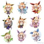 animal_ears bangs bare_shoulders black_hair blonde_hair blue_dress blue_hair braid brown_hair bubble cape chibi creatures_(company) crossover downscaled dress eevee espeon evolutionary_stone eyebrows_visible_through_hair feathers fins fire flareon fluffy frilled_dress frilled_skirt frilled_sleeves frills fur-trimmed_sleeves fur_trim game_freak gen_1_pokemon gen_2_pokemon gen_4_pokemon gen_6_pokemon glaceon green_hair hair_extensions hat heart highres idolmaster idolmaster_cinderella_girls idolmaster_cinderella_girls_starlight_stage jolteon lavender_hair leafeon lightning long_hair mahoxyshoujo md5_mismatch microphone multicolored_hair necktie ninomiya_asuka nintendo orange_hair pink_eyes pink_hair pokemon purple_dress purple_hair redhead resized ribbon safari_jacket side_braid silver_hair skirt sleeveless sleeveless_dress snow snowflakes star sylveon tail tiara torn_clothes two-tone_hair umbreon vaporeon water weapon white_dress white_hair white_skirt