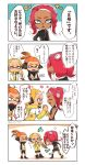 1boy 2girls black_shirt blonde_hair blush commentary_request dark_skin domino_mask ear_blush earmuffs fangs hand_holding headgear highres inkling makeup mascara mask medium_hair multiple_girls octarian octoling orange_eyes orange_hair pointy_ears redhead shirt short_eyebrows shorts single_sleeve splatoon splatoon_(series) splatoon_2 splatoon_2:_octo_expansion squid squidbeak_splatoon suction_cups tentacle_hair tona_bnkz translation_request vest yellow_coat yellow_vest