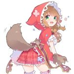 13o 1girl :3 :d animal_ears animal_hood bangs blue_flower blush bow braid breasts brown_bow brown_gloves brown_hair cape center_frills eyebrows_visible_through_hair fake_animal_ears flower frilled_legwear frills gloves green_eyes hair_between_eyes highres hood hood_up hooded_cape large_breasts long_hair looking_at_viewer looking_back nijisanji open_mouth paw_gloves paws plaid plaid_skirt pleated_skirt red_cape red_flower red_skirt shirt simple_background skirt smile solo tail tail_raised thigh-highs twin_braids virtual_youtuber warabeda_meijii white_background white_legwear white_shirt wolf_tail