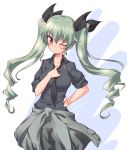 1girl adjusting_clothes adjusting_necktie anchovy anzio_military_uniform bangs black_neckwear black_ribbon black_shirt blush clothes_around_waist commentary dated dress_shirt drill_hair eyebrows_visible_through_hair girls_und_panzer green_hair grey_jacket grey_pants hair_ribbon hand_on_hip head_tilt highres jacket kuzuryuu_kennosuke long_hair long_sleeves looking_at_viewer loose_necktie military military_uniform necktie one_eye_closed pants red_eyes ribbon shirt simple_background sleeves_rolled_up solo standing twin_drills twintails twitter_username uniform white_background