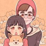 1boy 1girl animal artist_name bangs beanie black_hair brown_hair dog eyebrows_visible_through_hair glasses hanaan hat hood hood_down long_hair long_sleeves looking_at_viewer mole open_mouth orange_background orange_eyes original outline red_headwear shiba_inu short_hair smile sparkle upper_body