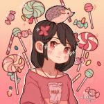 1girl animal animal_on_head artist_name bangs black_hair candy candy_wrapper flower food gradient gradient_background hair_flower hair_ornament hanaan hedgehog lollipop looking_at_viewer medium_hair milk on_head original outline print_shirt red_eyes red_flower shirt smile solo sparkle white_outline