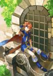 1boy animal black_cat blue_eyes boots cape cat fingerless_gloves fire_emblem fire_emblem:_fuuin_no_tsurugi gloves headband nintendo noki_(affabile) pet roy_(fire_emblem) sitting solo