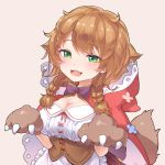 13o 1girl :d animal_ears animal_hood apron bangs braid breasts brown_background brown_gloves brown_hair cape center_frills cleavage eyebrows_visible_through_hair fake_animal_ears fangs frilled_apron frills gloves green_eyes hair_between_eyes hands_up highres hood hood_down hooded_cape large_breasts long_hair looking_at_viewer nijisanji open_mouth paw_gloves paws plaid plaid_skirt pleated_skirt red_cape red_skirt shirt simple_background skirt smile solo tail twin_braids underbust virtual_youtuber waist_apron warabeda_meijii white_apron white_shirt wolf_tail