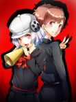 2girls :d absurdres atlus back-to-back black_jacket black_sailor_collar black_shirt black_skirt bow bowtie brown_hair character_request copyright_request crossover female_protagonist_(persona_3) grin hat highres holding imo_(evekelu-111) jacket long_sleeves looking_at_viewer megami_tensei multiple_girls open_mouth persona persona_3 persona_3_portable persona_q2:_new_cinema_labyrinth pleated_skirt red_background red_bow red_eyes red_neckwear sailor_collar shadow shiomi_kotone shirt short_hair silver_hair skirt smile v white_headwear