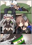 1boy 2girls admiral_(kantai_collection) amatsukaze_(kantai_collection) armband black_gloves black_legwear blue_shirt brown_dress brown_eyes comic commentary_request couch dress garter_straps gloves hair_tubes hat highres johnston_(kantai_collection) kantai_collection long_hair long_sleeves mini_hat multiple_girls off-shoulder_shirt off_shoulder on_couch pleated_skirt ryuun_(stiil) sailor_collar sailor_dress school_uniform shirt short_dress silent_comic silver_hair single_glove sitting skirt thigh-highs translation_request two_side_up white_gloves windsock