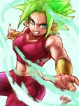 1girl aura blonde_hair bracer breasts collarbone commentary_request dragon_ball dragon_ball_super earrings fusion glowing glowing_hair jewelry kefla_(dragon_ball) looking_at_viewer medium_breasts midriff navel pants potara_earrings red_pants red_shirt shirt simple_background smile solo spiky_hair st62svnexilf2p9 stomach super_saiyan tank_top toned