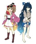 2girls ;d bag bangle bangs bare_legs barefoot belt black_belt black_headwear blue_bow blue_eyes blue_hair blue_skirt blush boots bow bowl bracelet breasts brown_eyes brown_footwear brown_hair coat commentary_request debt drawstring dress drill_hair eyebrows_visible_through_hair eyewear_on_head fan flat_color folding_fan full_body grey_hoodie hair_bow hand_on_hip hand_up handbag hat hat_bow holding holding_bowl holding_fan holding_purse hood hoodie jewelry long_hair long_sleeves looking_at_viewer mini_hat mini_top_hat miniskirt multiple_girls one_eye_closed open_clothes open_coat open_mouth purple_coat red_bow shinoba short_hair short_sleeves siblings simple_background sisters sketch skirt small_breasts smile standing stuffed_animal stuffed_cat stuffed_toy sunglasses thighs top_hat touhou twin_drills twintails very_long_hair white_background white_bow white_dress wide_sleeves yorigami_jo'on yorigami_shion