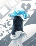 1girl aqua_hair back bandaid cowboy_shot crescent hatsune_miku heart monochrome rolling_girl_(vocaloid) skirt solo symbol toosenbo_(vocaloid) touminnn unhappy_refrain_(vocaloid) ura-omote_lovers_(vocaloid) vocaloid watermark web_address world's_end_dancehall_(vocaloid)