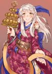 1girl bangle bangs blue_scarf blush bracelet fire_emblem fire_emblem:_akatsuki_no_megami fire_emblem_heroes hair_ornament highres japanese_clothes jewelry kenshin187 kimono long_hair looking_at_viewer micaiah nintendo obi sash scarf silver_hair simple_background smile solo yellow_eyes yune