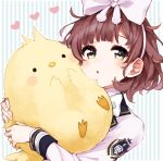 1girl animal animal_hug asuka_hina bangs bird blush bow brown_hair chick commentary_request eyebrows_visible_through_hair fingernails green_eyes hair_bow heart jacket kurihara_sakura long_sleeves nijisanji parted_lips solo striped striped_background upper_body vertical-striped_background vertical_stripes virtual_youtuber white_bow white_jacket