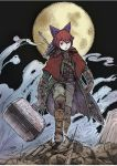 1girl armor belt black_background bloodborne boots bottle bow buckle cape chains cloak commentary_request debris fog full_moon gauntlets gloves greaves hair_bow hammer highres holding holding_hammer holding_weapon knee_boots looking_at_viewer misohagi moon parted_lips red_eyes redhead scabbard sekibanki sheath short_hair solo sword sword_behind_back touhou vest walking war_hammer weapon weapon_on_back