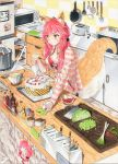 1girl :< animal_ear_fluff animal_ears bangs bottle bowl bra breasts cake cleavage commentary_request counter cutting_board english_text fate/extra fate/grand_order fate_(series) food fox_ears fox_girl fox_tail fruit hair_ornament hair_scrunchie highres icing indoors jacket jewelry kitchen kitchen_knife kitchen_patissiere knife lettuce low_twintails marker_(medium) medium_breasts meme_attire microwave mittens necklace open_clothes open_jacket pastry_bag pepper photo_(object) pink_hair pink_jacket red_bra refrigerator scrunchie solo spring_onion stove strawberry striped striped_jacket tail tail_wagging tamamo_(fate)_(all) tamamo_no_mae_(fate) toaster traditional_media twintails underwear yellow_eyes yuan_long