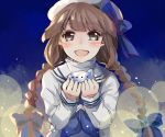 1girl bangs blush bow braid brown_hair grey_eyes happy hat hat_bow highres holding holding_instrument instrument long_hair looking_at_viewer ocarina oounabara_to_wadanohara open_mouth outline revanche sailor sailor_hat sidelocks smile solo spotlight twin_braids upper_body wadanohara