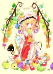 1girl :o absurdres apple apple_core apple_hair_ornament bandage bandaged_arm bandages bangs bitten_apple blonde_hair blunt_bangs bow commentary_request dress earrings english_text flandre_scarlet food food_themed_hair_ornament frilled_hat frilled_shirt_collar frills fruit full_body green_apple hair_ornament hat highres holding holding_food holding_fruit jewelry leaf looking_at_viewer mary_janes mirror neckerchief pink_bow puffy_short_sleeves puffy_sleeves rainbow_order red_apple red_dress red_eyes red_footwear shoes short_hair short_sleeves sitting skin_fang socks solo tail touhou umemaro_(siona0908) wavy_hair white_legwear wings yellow_background yellow_bow yellow_neckwear