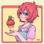 1girl artist_name bangs blue_eyes blush cake cupcake english_text flower food fruit hanaan hands_up heart icing looking_at_viewer original overalls pink_shirt redhead shirt short_hair short_sleeves smile solo star strawberry upper_body white_flower window_(computing) yellow_background
