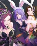 animal_ears ass bare_shoulders braid breasts brown_eyes brown_hair bunnysuit camilla_(fire_emblem_if) cleavage earrings fire_emblem fire_emblem_heroes fire_emblem_if gloves hair_over_one_eye highres jewelry kagerou_(fire_emblem_if) large_breasts lips loki_(fire_emblem_heroes) long_hair looking_at_viewer multiple_girls nintendo ponytail purple_hair qumaoto rabbit_ears scarf simple_background smile tiara very_long_hair violet_eyes wavy_hair