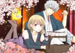 1boy 1girl absurdres black_kimono black_sleeves blonde_hair breasts cleavage detached_sleeves earrings eyes facial_scar flower gintama hair_between_eyes highres holding japanese_clothes jewelry kimono legs_up long_sleeves looking_at_viewer lying medium_breasts on_stomach paleatus red_eyes sakata_gintoki scar scar_on_cheek short_hair silver_hair sleeveless sleeveless_kimono smile the_pose tsukuyo_(gintama) violet_eyes white_flower white_kimono