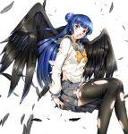 1girl angel_wings black_feathers black_wings blue_hair highres imo_(evekelu-111) love_live! love_live!_sunshine!! parody persona school_uniform side_bun style_parody thigh-highs torn_clothes torn_legwear tsushima_yoshiko uranohoshi_school_uniform wings