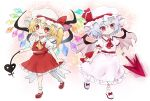 2girls ascot bat_wings blonde_hair bright_pupils closed_mouth collared_dress dress flandre_scarlet frilled_shirt frills hat holding holding_spear holding_weapon laevatein lavender_hair long_hair looking_at_viewer mary_janes mob_cap multiple_girls open_mouth orange_eyes pink_eyes pink_wings polearm puffy_short_sleeves puffy_sleeves red_footwear red_neckwear red_skirt remilia_scarlet shirt shoes short_hair short_sleeves siblings side_ponytail sisters skirt skirt_set smile socks spear spear_the_gungnir touhou weapon white_dress white_headwear white_legwear white_pupils wings yellow_neckwear yoshishi_(yosisitoho)