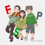 1girl 2boys akuno_hideo's_brother amane_(idolmaster) black_hair brown_hair camouflage camouflage_legwear child double_v frilled_legwear green_eyes green_shirt grey_shorts grin hand_in_pocket highres idolmaster idolmaster_side-m kimura_ryuu's_brother leggings looking_at_viewer low_twintails multiple_boys orange_scarf pants red_eyes scarf sharp_teeth shirt shoes shorts smile sneakers socks striped striped_background striped_shirt sweatpants teeth twintails v yellow_legwear