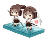 2girls :d artist_name black_legwear black_skirt blush brown_eyes brown_hair chibi closed_mouth commentary_request faux_figurine full_body hachimaki hair_between_eyes hand_on_hilt headband highres hyuuga_(kantai_collection) ise_(kantai_collection) japanese_clothes kantai_collection katana kneehighs long_sleeves multiple_girls nontraditional_miko open_mouth pleated_skirt ponytail remodel_(kantai_collection) ribbon-trimmed_sleeves ribbon_trim sheath short_hair simple_background skirt smile sword taisa_(kari) undershirt v-shaped_eyebrows weapon white_background white_headband wide_sleeves yumi_(bow)