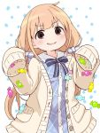 1girl bangs blonde_hair blue_bow blue_dress blush bow brown_eyes brown_jacket candy_wrapper collared_dress ddak5843 dress eyebrows_visible_through_hair futaba_anzu hair_bow hands_up idolmaster idolmaster_cinderella_girls jacket long_hair long_sleeves low_twintails open_clothes open_jacket parted_lips plaid plaid_dress sleeves_past_fingers sleeves_past_wrists smirk solo striped striped_bow twintails very_long_hair white_background