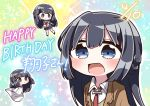 1girl :d bangs black_hair blazer blue_eyes blue_sailor_collar blue_skirt blush braid brown_footwear brown_jacket chibi collared_shirt dated dress eyebrows_visible_through_hair hair_between_eyes happy_birthday highres jacket jako_(jakoo21) kneehighs long_hair long_sleeves looking_at_viewer multiple_views neckerchief necktie open_blazer open_clothes open_jacket open_mouth pleated_skirt red_neckwear sailor_collar sakurajima_mai school_uniform seishun_buta_yarou serafuku shirt short_sleeves skirt smile sparkle sweater_vest very_long_hair white_dress white_legwear white_shirt