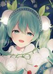 1girl :d ahoge bangs blue_hairband blush breath capelet commentary english_commentary eyebrows_visible_through_hair flower fur-trimmed_capelet fur_trim green_eyes green_hair hair_between_eyes hairband hatsune_miku head_tilt night night_sky open_mouth silltare sky smile snowflake_print solo star_(sky) starry_sky upper_body vocaloid white_capelet white_flower yuki_miku