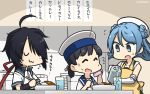 3girls apron beret black_hair blue_eyes blue_hair blue_sailor_collar closed_eyes closed_mouth double_bun dress elbow_gloves food glasses gloves hair_over_one_eye hamu_koutarou hat hiburi_(kantai_collection) highres kako_(kantai_collection) kantai_collection kitchen long_hair low_ponytail messy_hair multiple_girls open_mouth ponytail remodel_(kantai_collection) sailor_collar sailor_dress sailor_hat school_uniform serafuku short_hair short_sleeves sitting sleeves_rolled_up smile sweatdrop urakaze_(kantai_collection) water white_dress white_gloves white_headwear