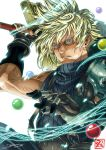 1boy armor blonde_hair blue_eyes buster_sword cloud_strife clouds dzoho final_fantasy final_fantasy_vii fingerless_gloves gloves huge_weapon jewelry male_focus parted_lips short_hair shoulder_armor shoulder_pads solo spiky_hair square_enix sword weapon
