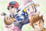 1girl 2boys creatures_(company) game_freak gen_5_pokemon grin hikari_(pokemon) iwane_masaaki multiple_boys nintendo pokemon pokemon_(anime) pokemon_dppt_(anime) satoshi_(pokemon) smile takeshi_(pokemon) transformation what zorua