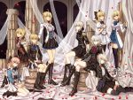 6+girls ahoge arm_support artoria_pendragon_(all) artoria_pendragon_(lancer) artoria_pendragon_(lancer_alter) ascot black_footwear black_legwear blue_eyes boots bow breasts brown_eyes cross-laced_footwear curtains fate/grand_order fate_(series) green_eyes hair_bow highres jeanne_d'arc_(alter)_(fate) jeanne_d'arc_(fate) jeanne_d'arc_(fate)_(all) jewelry katana knee_boots lace-up_boots large_breasts long_hair looking_at_viewer medium_breasts military military_uniform multiple_girls necklace nero_claudius_(fate)_(all) okita_souji_(fate)_(all) petals pillar pink_hair pose saber_alter saber_lily short_hair sidelocks silver_hair sitting skirt small_breasts smile sword thigh-highs uniform veil very_long_hair weapon yellow_eyes zerocastle zettai_ryouiki