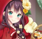 1girl aqua_eyes bico_(bicoris) blush braid braided_ponytail brown_hair cape capelet flower hair_flower hair_ornament hair_over_shoulder highres hood hood_up hooded_capelet kurosawa_dia long_hair looking_at_viewer love_live! love_live!_sunshine!! neck_ribbon portrait red_cape ribbon single_braid smile solo striped striped_ribbon yellow_flower yellow_pillow