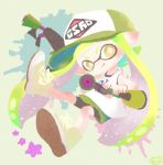 1girl baseball_cap bike_shorts bright_pupils closed_mouth domino_mask dual_wielding full_body green_hair green_skirt hat holding inkling long_hair mask miniskirt no_nose pointy_ears shirt shoes shorts shorts_under_skirt skirt smile solo splat_dualies_(splatoon) splatoon splatoon_(series) splatoon_2 star tank_top tentacle_hair white_shirt yellow_eyes yellow_footwear yoshishi_(yosisitoho)