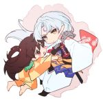 1boy 1girl armor barefoot black_hair brown_eyes brown_hair child closed_mouth commentary_request facial_mark forehead_mark fur hamagurihime inuyasha japanese_clothes kimono long_hair looking_at_viewer one_side_up open_mouth pointy_ears rin_(inuyasha) sesshoumaru silver_hair simple_background smile sword weapon white_background white_hair yellow_eyes