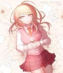 1girl ahoge akamatsu_kaede artist_name bangs beamed_eighth_notes blonde_hair breasts commentary_request danganronpa dated eighth_note eyebrows_visible_through_hair floral_print flower from_above hair_ornament happy_birthday long_hair long_sleeves looking_at_viewer lying medium_breasts musical_note musical_note_hair_ornament necktie new_danganronpa_v3 on_back orange_neckwear pleated_skirt school_uniform shirt skirt smile solo sweater_vest tokilos violet_eyes