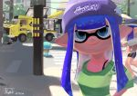 2019 2girls beanie bike_shorts blue_eyes blue_hair closed_mouth dated domino_mask food_truck green_shirt ground_vehicle hat highres inkling jellyfish_(splatoon) leg_up long_hair long_sleeves looking_at_viewer mask motor_vehicle multiple_girls outdoors pointy_ears power_lines purple_headwear ryuji_(red-truth) shirt single_vertical_stripe sleeves_past_elbows smile solo_focus splatoon splatoon_(series) splatoon_2 striped striped_shirt tentacle_hair traffic_light truck