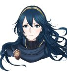 1girl blue_eyes blue_hair blue_scarf closed_mouth commentary_request face fire_emblem hair_between_eyes highres jewelry long_hair looking_at_viewer lucina nintendo pendant ribbed_sweater roroichi scarf super_smash_bros. sweater