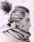 1boy facial_hair faux_traditional_media from_side greyscale highres ilya_kuvshinov male_focus monochrome portrait sekiro sekiro:_shadows_die_twice short_hair solo stubble topknot