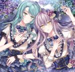 2girls aqua_flower aqua_hair aqua_rose bang_dream! bangs blue_flower blue_neckwear blue_rose blue_skirt bow bowtie corset crossed_bangs earrings flower frills green_eyes hair_flower hair_ornament hand_on_own_chest hand_up high-waist_skirt hikawa_sayo jewelry lavender_hair light_blush long_hair looking_at_viewer lying minato_yukina multiple_girls nennen on_back parted_lips purple_flower rose short_sleeves skirt striped striped_neckwear wrist_cuffs yellow_eyes yellow_flower yellow_rose
