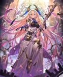 1girl android artist_request blonde_hair blue_eyes cygames eyebrows_visible_through_hair full_body gradient_hair grin holding holding_staff limonia_flawed_saint long_hair looking_at_viewer mechanical_halo multicolored_hair official_art petals purple_hair robot_joints shadowverse sitting smile solo staff veil very_long_hair waist_cape weighing_scale