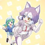 2girls :d alternate_hairstyle animal_ear_fluff animal_ears black_shirt blue_eyes blue_vest commentary dog_(kemono_friends) dog_ears dog_tail elbow_gloves eyebrows_visible_through_hair eyes_visible_through_hair gloves green_hair grey_hair grey_jacket grey_skirt hand_holding hat hat_feather heterochromia jacket japari_symbol kemono_friends kyururu_(kemono_friends) multicolored_hair multiple_girls niiyan open_mouth outline pleated_skirt running shirt shorts simple_background skirt smile tail two-tone_hair vest white_gloves white_hair white_outline yellow_background yellow_eyes