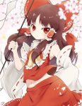 1girl ascot bangs bow breasts brown_hair flower frilled_bow frilled_hair_tubes frilled_neckwear frilled_shirt_collar frills gohei hair_bow hair_tubes hakurei_reimu hand_up holding long_hair long_sleeves looking_at_viewer navel petals red_bow red_eyes red_skirt ribbon-trimmed_sleeves ribbon_trim skirt small_breasts solo touhou wide_sleeves yellow_neckwear yoshishi_(yosisitoho)