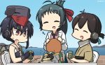 3girls aircraft airplane asymmetrical_hair bangs black_gloves black_hair black_neckwear black_swimsuit blue_ribbon blue_sky brown_eyes closed_eyes commentary_request crop_top cup dated day folded_ponytail framed_breasts gloves gradient_sky green_hair green_kimono hair_between_eyes hair_ribbon hamu_koutarou hat headphones highres horizon i-13_(kantai_collection) irako_(kantai_collection) japanese_clothes kantai_collection kappougi kasuga_maru_(kantai_collection) kimono long_hair multiple_girls necktie ocean outdoors partly_fingerless_gloves pink_shirt ponytail remodel_(kantai_collection) ribbon sailor_collar scarf school_swimsuit shirt short_hair sky swept_bangs swimsuit taiyou_(kantai_collection) tray tsurime upper_body yunomi