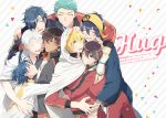 6+boys ^_^ aqua_eyes aqua_hair bandanna black_hair blonde_hair blue_eyes blue_hair braid brown_hair cloak closed_eyes closed_eyes cover cover_page doujin_cover english_text eyepatch feathers grin hair_feathers horikawa_kunihiro hug jacket ko-man male_focus mikazuki_munechika multiple_boys ookurikara open_mouth shokudaikiri_mitsutada smile taikogane_sadamune touken_ranbu track_jacket track_suit tsurumaru_kuninaga white_hair yamabushi_kunihiro yamanbagiri_kunihiro yellow_eyes